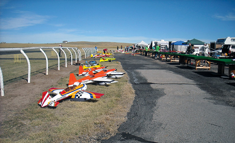 The packed flightline at the Flying Cowboy Annual Fly-In in Sheridan WY.