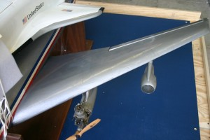 The repair made to the wing is still visible on the model today.