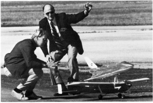 """Art Arro and Owen Morris release the Gazariator and Space Shuttle for another test flight. The photograph originally appeared in """"Mini Orbiter,"""" Model Airplane News, April 1976, pg. 48, by Terry White."""