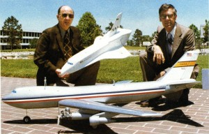 Owen Morris and John Kiker with their 747 and shuttle models.