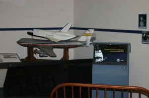 The 1/40-scale Radio-Controlled Boeing 747 and Space Shuttle combination on exhibit in the National Model Aviation Museum's Models at Work Gallery.