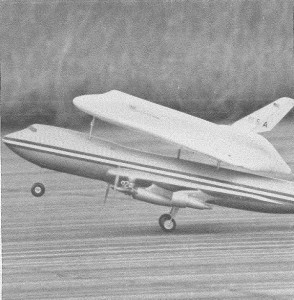 """Takeoff of the 747 during an early test flight. The photograph originally appeared in """"Launching a Space Shuttle,"""" Model Airplane News, April 1976, 46 by John Kiker and Owen Morris."""