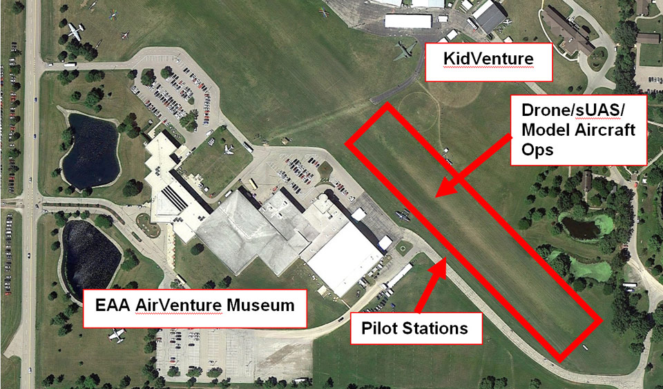 This aerial photo shows the authorized area for drone/sUAS/model aircraft flights during EAA AirVenture Oshkosh 2015.